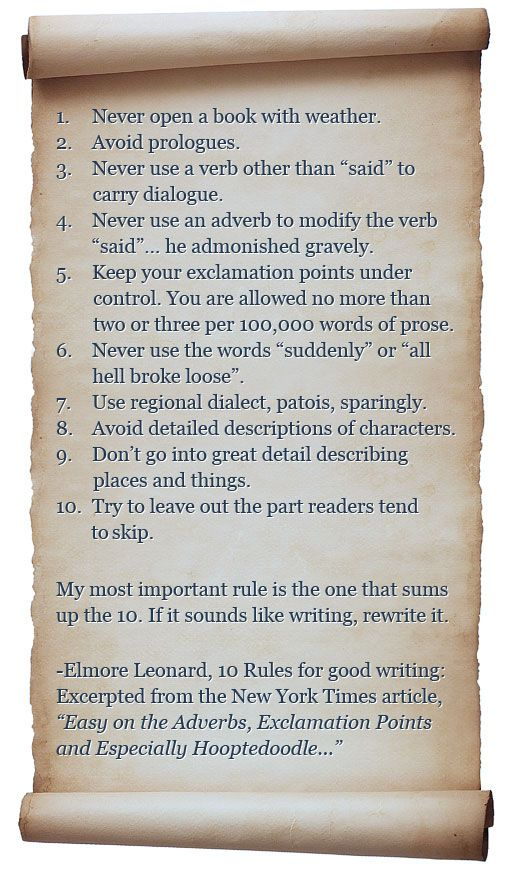 Elmore Leonard's 10 Rules of Good Writing | iUniverse