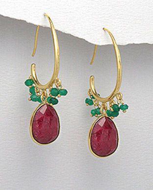 Cercei cu onix verde, corindon de culoare rubin 31-1-i4864 | SilverZone.ro