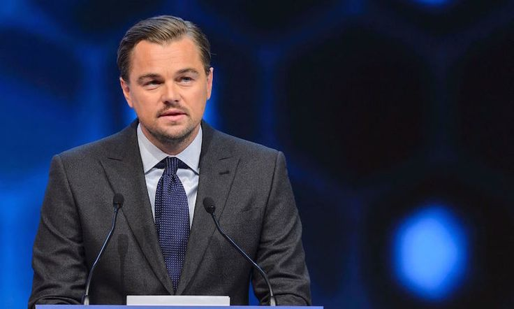 Just as we're starting to cross our fingers that he finally snags his overdue Oscar, Leonardo DiCaprio gives us another reason to cheer him on.   During a speech at the World Economic Forum