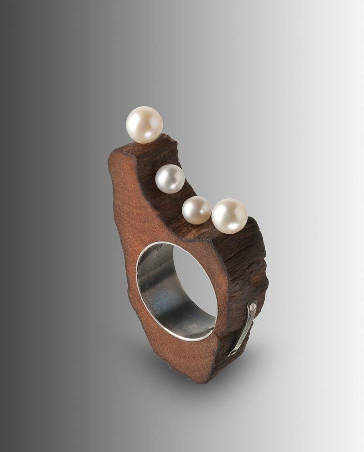 Nicolas Estrada. Ring: Spring, 2016. Wood, silver, pearls. 5 x 3 x 1 cm. Photo by: Joan Soto.