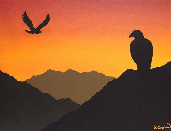 Faye Decoration Silhouette Of Eagles At Sunset Acrylic Painting - Orange