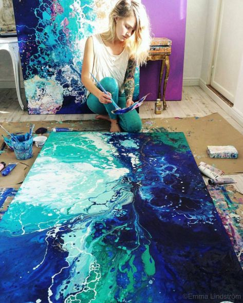 Beautiful blue and green abstract painting with flowing colors. Artists Planet