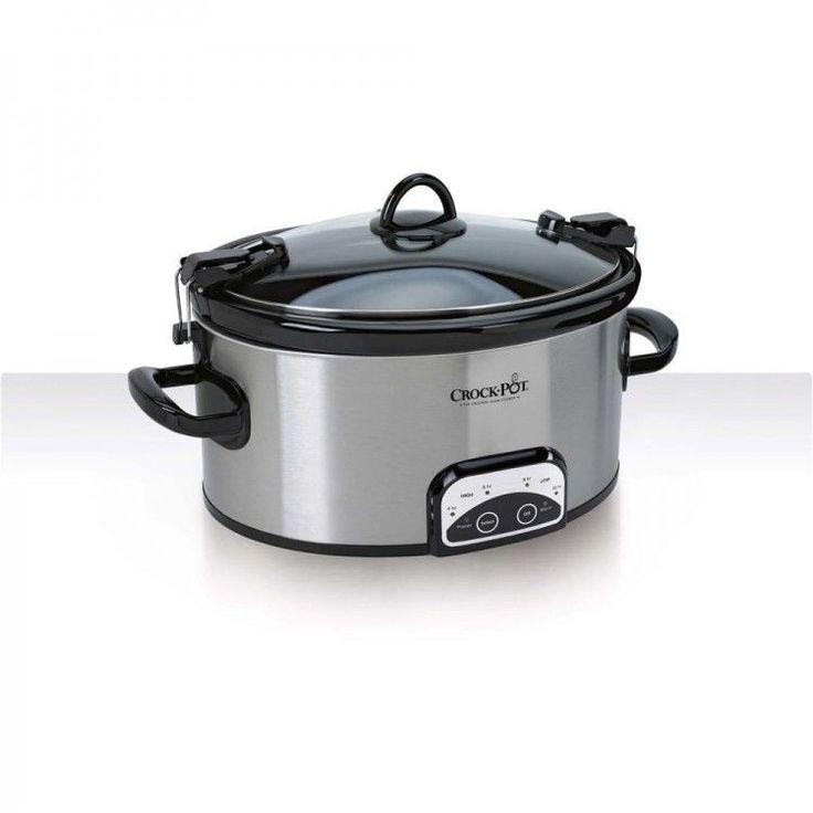 Programmable Crock Pot 6 Quart Slow Cooker Locking Lid Small Kitchen Appliances  #CROCKPOT