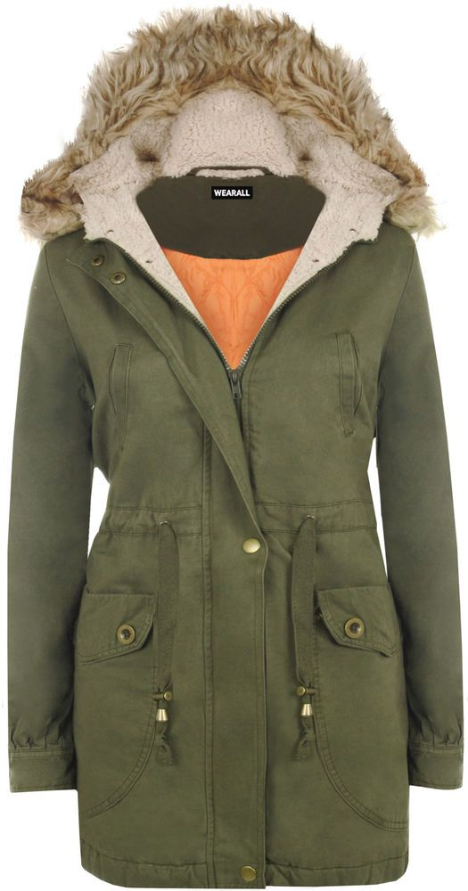 Womens Long Winter Fur Hooded Pocket Lined Zip Mod Jacket Ladies Parka Coat #ClairFashions #Parka #EveningOccasion