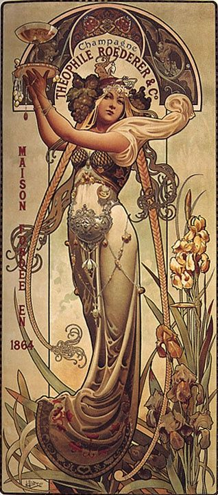 Beautiful Champagne Poster in the Henri Privat-Livemon style