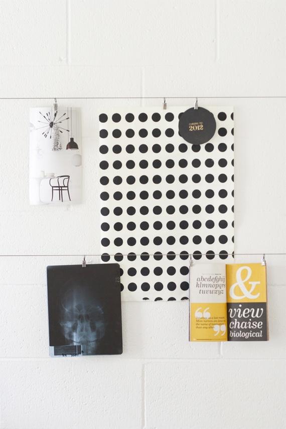 creative werkruimte | stalen kabel | ophangen van notities, tekeningen