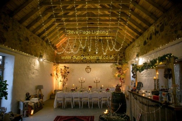 Barn lighting at the Cow Shed: Lighting by www.dundeecentral.co.uk
