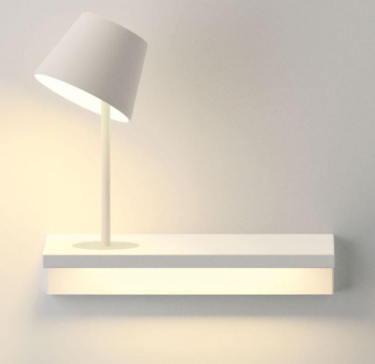 Etagère lumineuse Suite / L 32 cm /  Lampe de lecture - Branchement mural Lampe de lecture / Blanc - Vibia - Décoration et mobilier design avec Made in Design