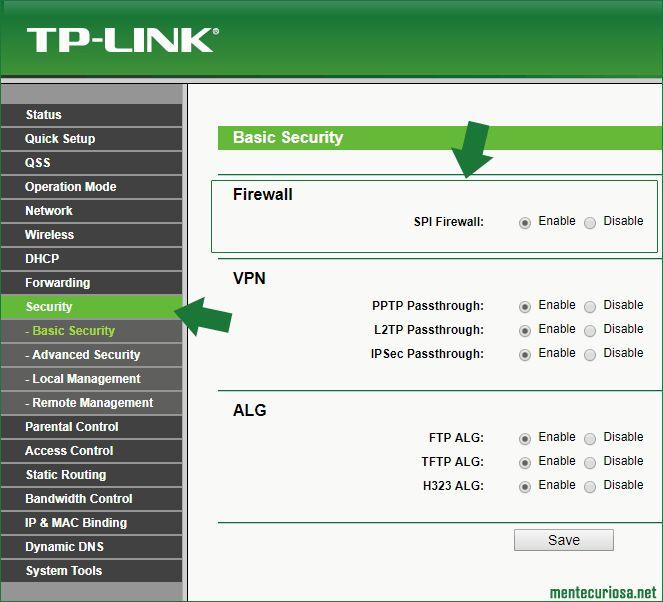Como activar o desactivar el firewall en un router TP-LINK | Router