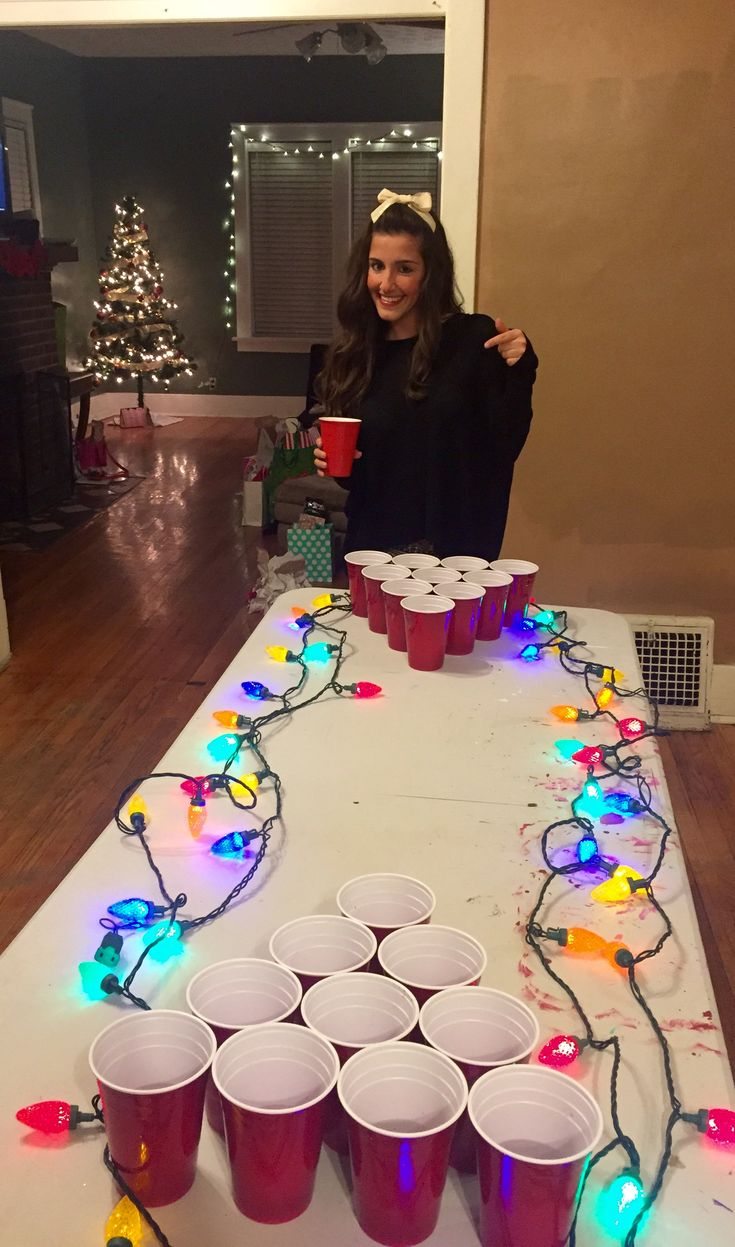 Making the beer pong table festive. TSM.