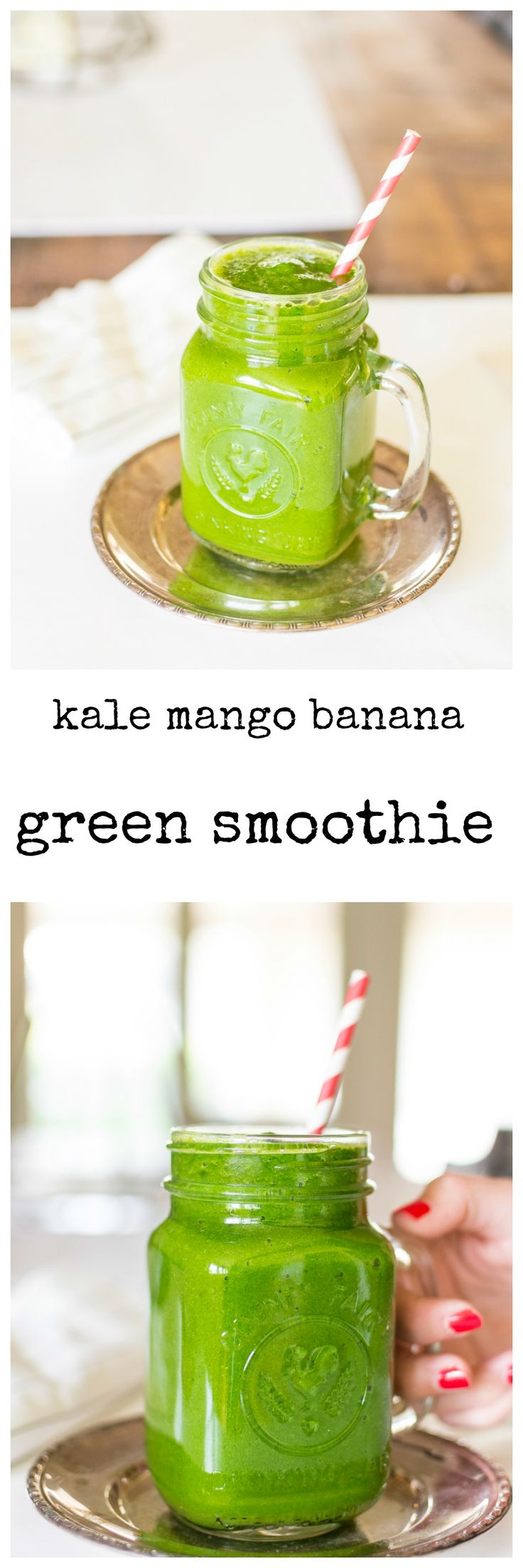 Green smoothie - healthy kale mango banana smoothie. Boost your energy with this healthy green smoothie.