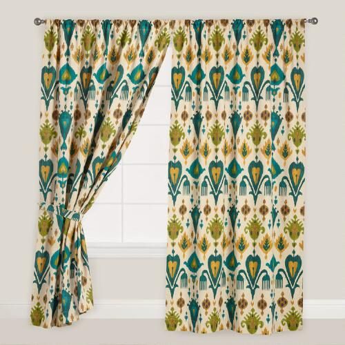 One of my favorite discoveries at WorldMarket.com: Gold and Teal Ikat Aberdeen Cotton Curtains, Set of 2