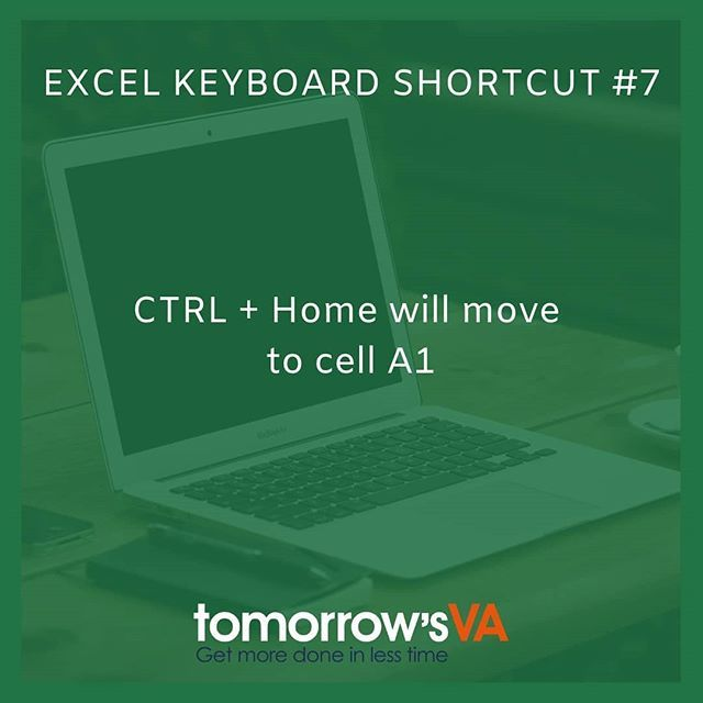 Excel keyboard shortcut #7 - Control Home will move to cell A1  Save