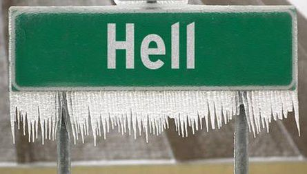 Funny pic of Hell freezing over in Michigan