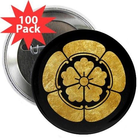 "Oda Mon Japanese samurai clan gold on black 2.25"" on CafePress.com"