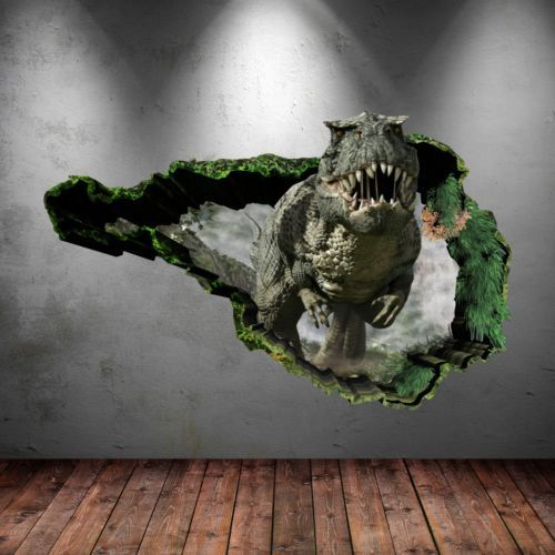 Details About 3d Dinosaur T Rex Wall Art Sticker Bedroom