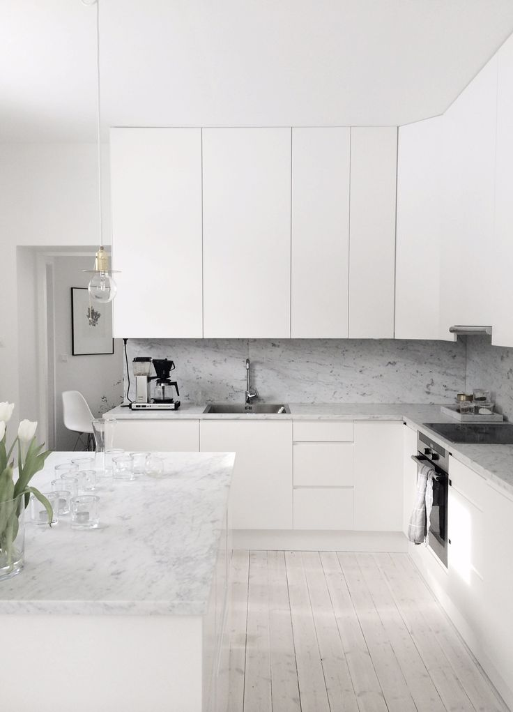 202 best four walls kitchens images on pinterest - White kitchen marble ...