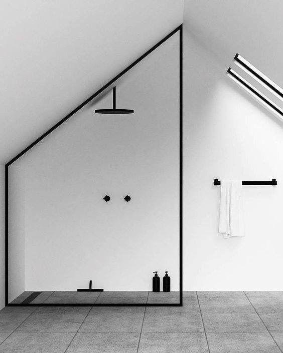 Minimalistisches Badezimmer in einem modern gestalteten Loft # Interiors #Home #Style #Badezimmer …