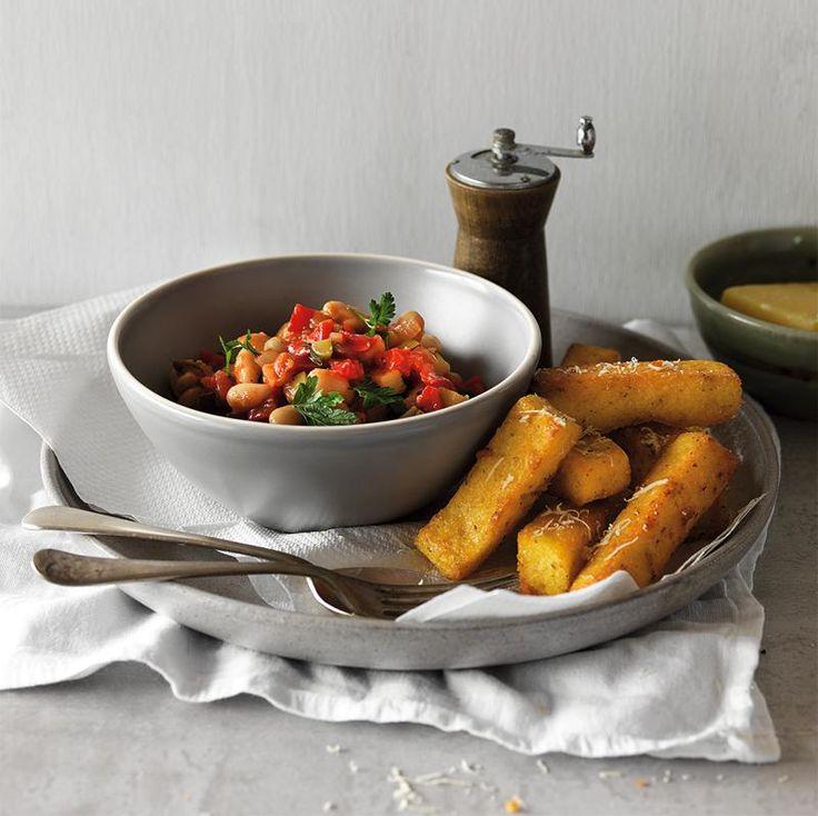 Summer Vegetable Stew with Crispy Parmesan Polenta Chips