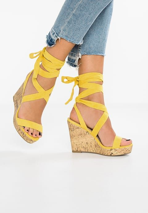 Bestill  New Look Wide Fit WIDE FIT OLA - Sandaler med høye hæler - bright yellow for kr 349,00 (08.08.17) med gratis frakt på Zalando.no