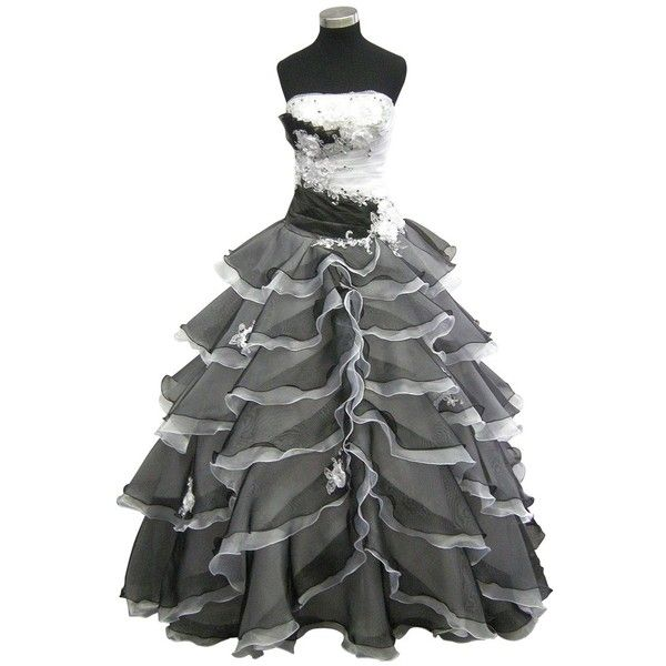 Black and White Ball Gown 9100 - Polyvore