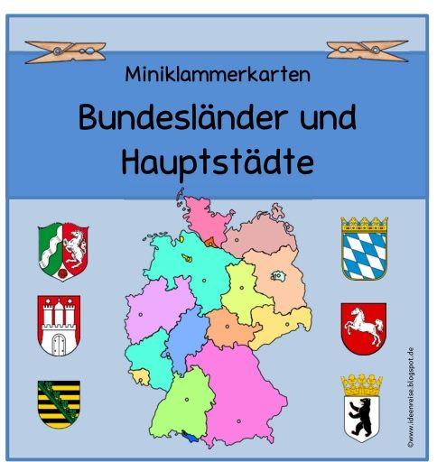 Miniklammerkarten zu den Bundesländern und ihren Hauptstädten   Ann-Kathrin hat sich Miniklammerkarten  zu den deutschen Bundesländern und ...