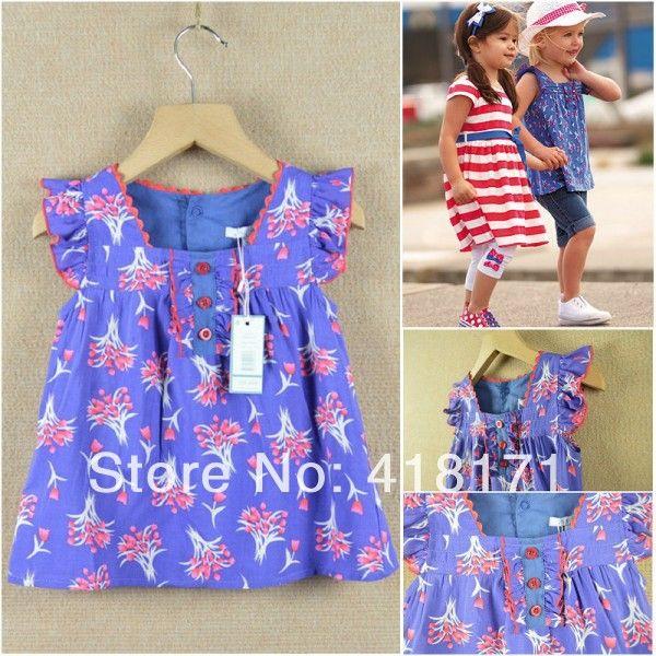 Чистый хлопок высокое качество девушки лето блузка синий цветочный принт дети кепка длинным рукавом оборками девушки с 3 кнопки дети блузка