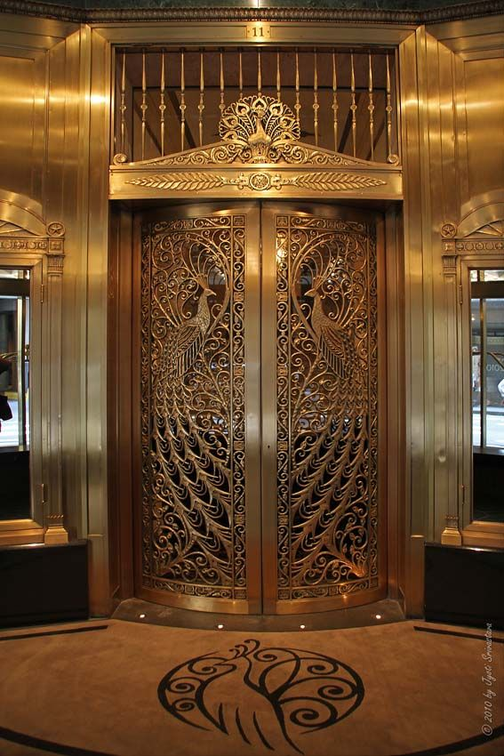 steampunktendencies:    The Peacock DoorLocated at the Palmer Hotel, in the Loop, Chicago.   Photos:  Jyoti Srivastava