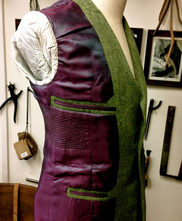 DAVIDE TAUB: Bespoke Men's Curved-Seam Jacket in Green Cheviot Tweed w/.Contrast Tweed Check Details, 2015