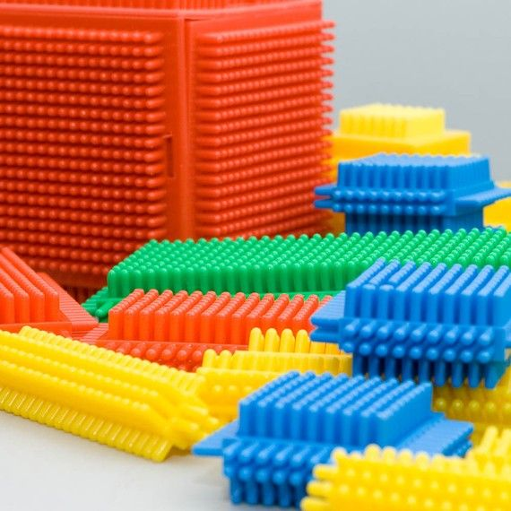 vintage 1970s box of Playskool Bristle Blocks The twins had these. We all love to play with them