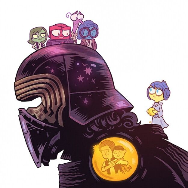 """Art by Dan Hipp. Disgust is Han (his father), Anger is Darth Vader (his grandfather), Fear is Luke (his uncle), Sadness is Ben Kenobi (his namesake) and Joy is Leia (his mother). Like in """"Inside Out,"""" Kylo Ren's Joy has wandered out ofHeadquarters— an apt metaphor considering how emotionally tortured Ben Solo is in the film. And to make matters even more heartbreaking, we see one of Kylo Ren's """"core memories,"""" a happy moment with his father."""