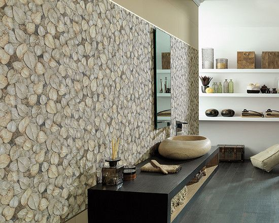 a unique wall covering adds unexpected style: cool asian bathroom
