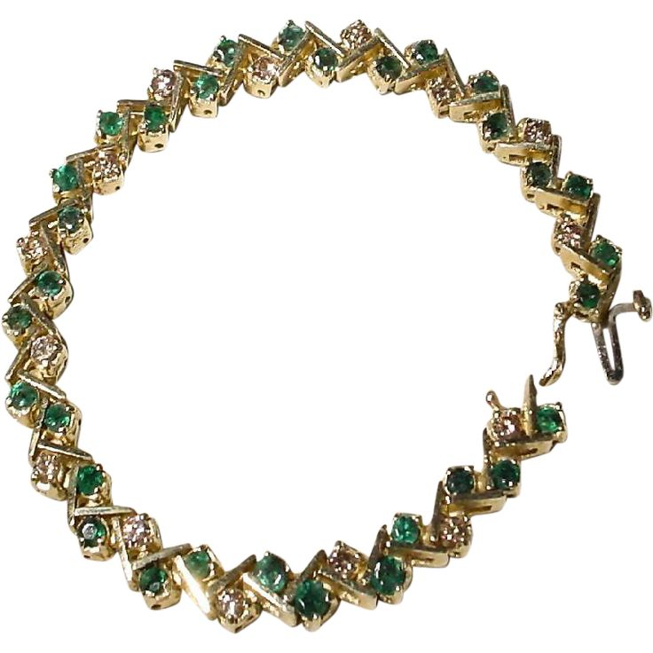 Classic Emerald & Diamond Bracelet 14KT Yellow Gold - Zigzag Design