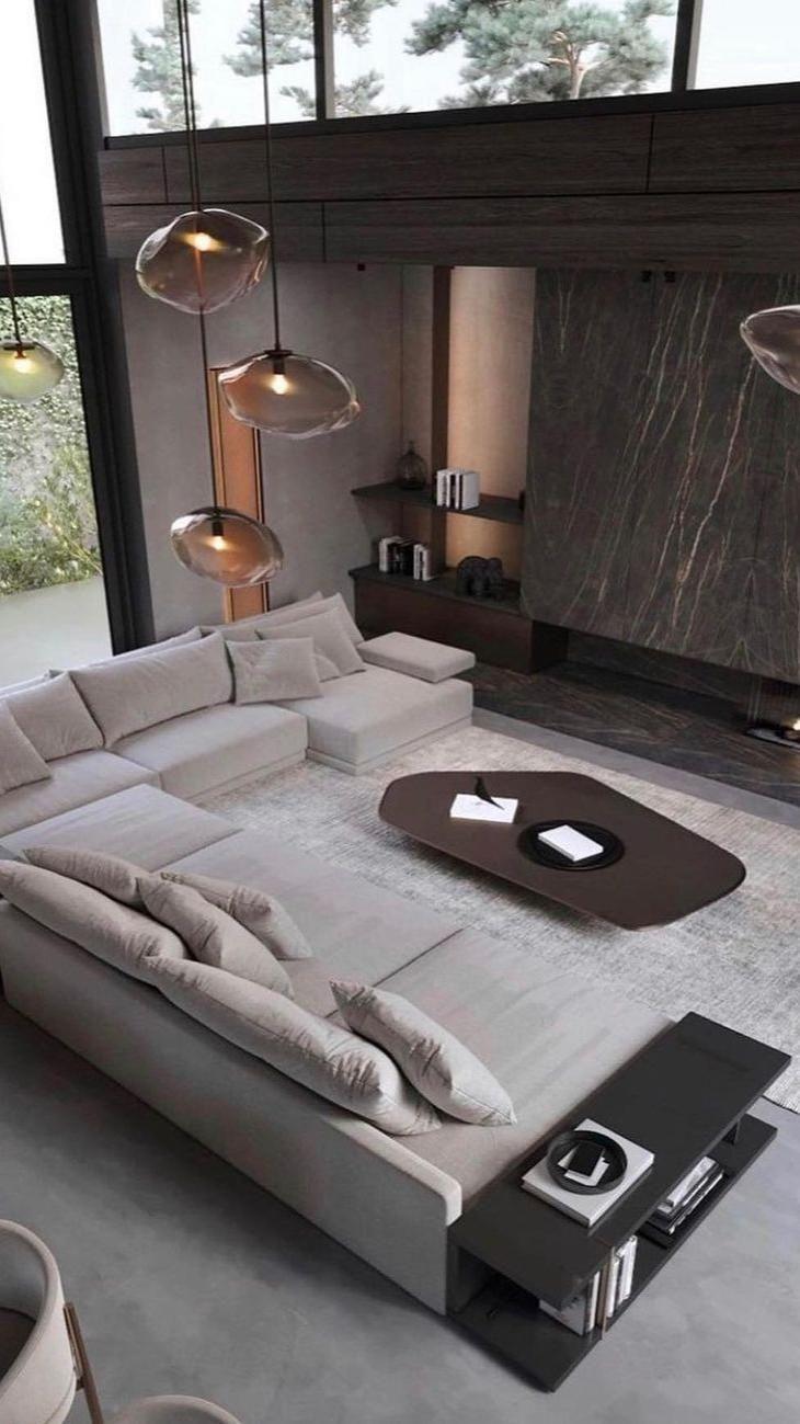Loft Interior, Apartment Interior, Modern Interior Design, Luxury Interior, Home Living Room, Interior Design Living Room, Living Room Designs, Modern Living Room Decor, Modern Contemporary Living Room
