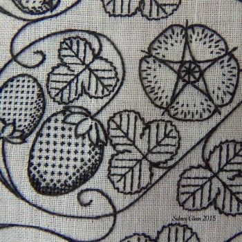 """Basics of Elizabethan Freehand Blackwork Embroidery"" This article specifically focuses on the styles and basic techniques of freehand blackwork embroidery in the Elizabethan and Tudor eras in England."