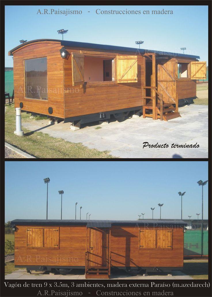 Construccion vagones de madera caba as tren galpon y - Construccion de cabanas de madera ...
