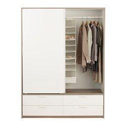 TRYSIL Garderobeskab skydedøre 4 skuf - hvid/lysegrå - IKEA