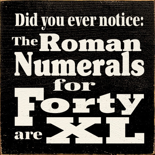 Sawdust City LLC - Did You Ever Notice: The Roman Numerals For Forty Are XL, $11.00 (http://www.sawdustcityllc.com/did-you-ever-notice-the-roman-numerals-for-forty-are-xl/)
