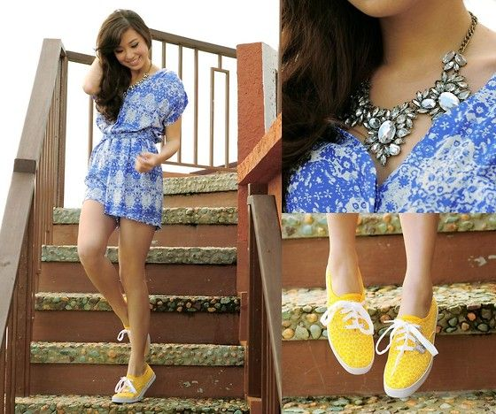 Mango Romper, Keds Sneakers (my yellow slip ons w/ a blue dress or blue shirt and skirt)