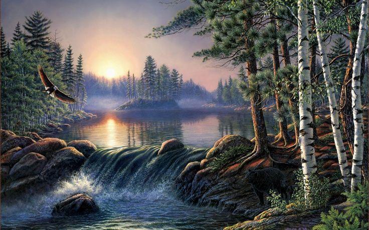 Las-aguas-fronterizas_Pintura-de-James-Meger_Pinturas-de-Paisajes.jpg (1600×1000)