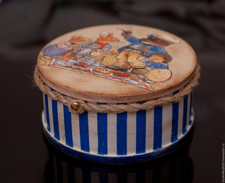 Купить Шкатулка круглая Foxwood tales - тёмно-синий, Декупаж, шкатулка, шкатулка для украшений