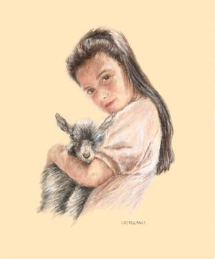 Little Girl with Baby Goat To purchase a reproduction, go to: http://fineartamerica.com/featured/little-girl-holding-a-baby-goat-sylvia-castellanos.html