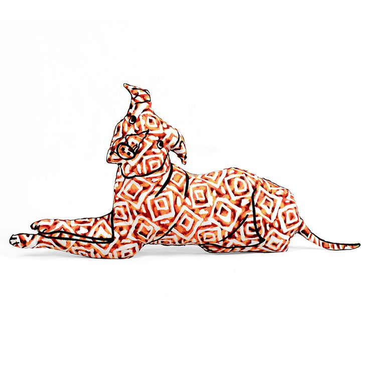Large Animal Shaped Pillows : Decorative pillow, pit bull shaped, large decorative pillow, orange batik type fabric, hand ...