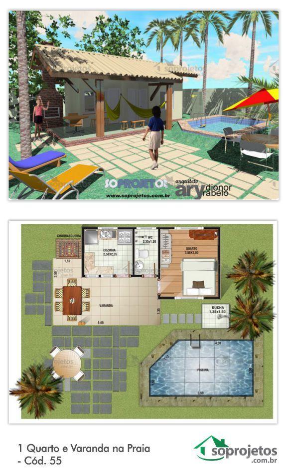 Projeto de casa com 1 dormitório, e uma cozinha. Possui varanda que integra a casa com o exterior, com área de 15,45 m². Ótima para praia ou edícula. Telhado em telha de barro.