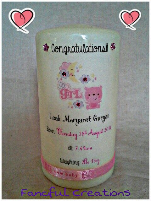 New baby candle (girl) 15cm ivory pillar priced at €15 with poem on the other side.