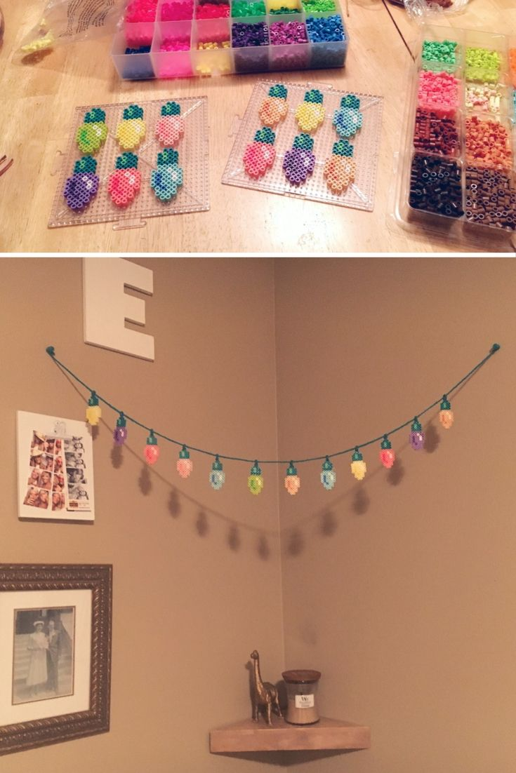 I made these perler bead Christmas lights this year, and I LOVE how they turned out! The color palette of mixed pastels and neons is my idea of Christmas :)