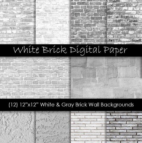 White Brick Digital Paper White Brick Backgrounds White Gray Brick Textures Commercial Use 300 Dpi Jpg Digital Download In 2021 Brick Texture Brick Exterior House White Wash Brick