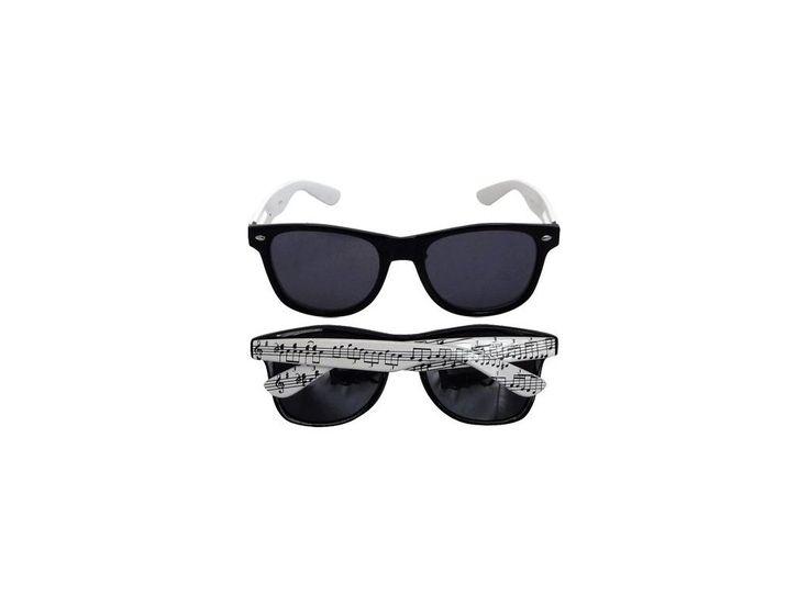 Sluneční brýle černé s bílými nožičkami s notami - HUDEBNIKUM.CZ