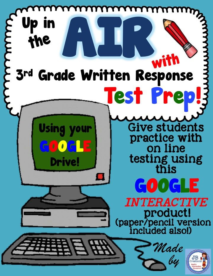 "Practice for 3rd Grade Writing Test Prep!  Grab this resource for 3 practice sessions utilizing Google Drive sharing to reinforce both students' writing and technology skills! Includes 6 sources, 2 informative/explanatory prompts, 1 opinion prompt, and 2 ""kid friendly"" state testing rubrics! https://www.teacherspayteachers.com/Product/Google-Interactive-AIR-Test-Prep-for-3rd-Grade-Writing-Performance-Based-Prompts-2434693"