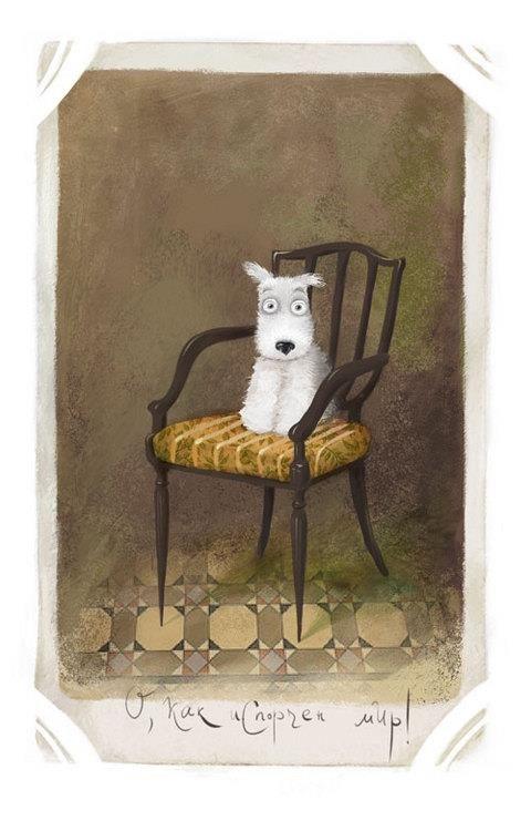 What? #art #illustration #dog #portrait #painting #print